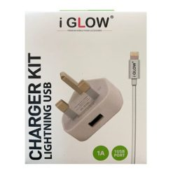 iGlow High Quality 1A USB Port Mains Charger & Lightning Cable