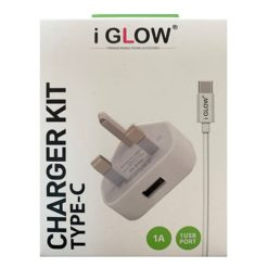 iGlow High Quality 1A USB Port Mains Charger & Type-C Cable