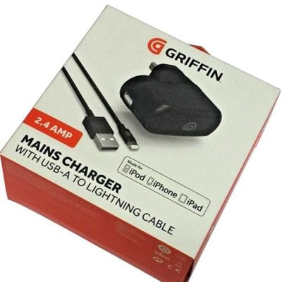 Griffin 2.4 Amp Mains Charger With USB-A To Lightning Cable MFI Approved