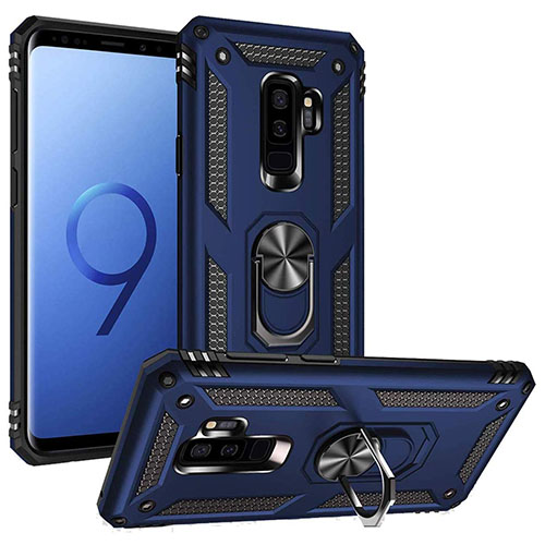 Samsung Galaxy S9 Hybrid Dual-Layer Armour Case With Magnetic Ring Stand - Blue