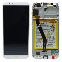 Genuine Huawei Y6 2018 LCD Screen & Touch Digitiser With Frame & Battery - White