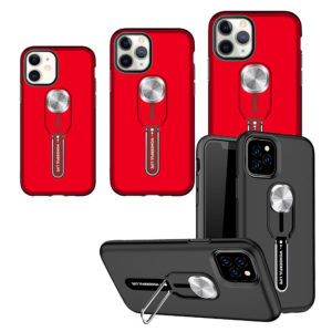 iPhone 12 Dual-Layer Shockproof Finger Strap Stand Case