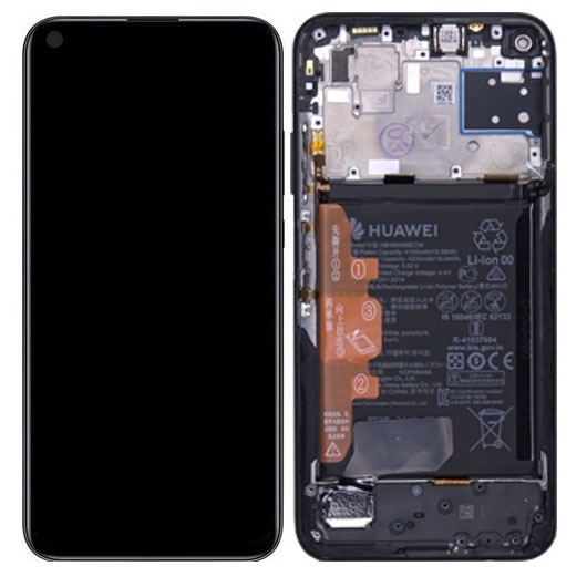 Genuine Huawei P40 Lite LCD Screen & Touch Digitiser With Frame & Battery - Midnight Black - 14 Day