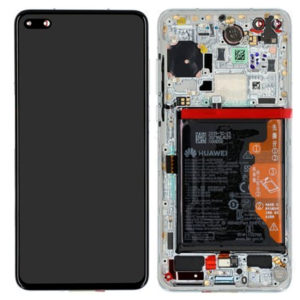 Genuine Huawei P40 LCD Screen & Touch Digitiser With Frame & Battery - 14 Day - Ice White