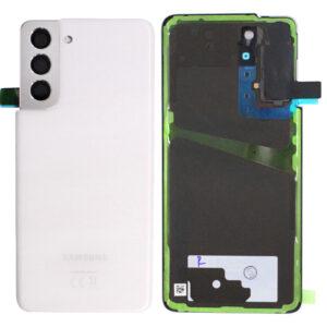 Genuine Samsung G991 Galaxy S21 Rear Back Glass / Battery Cover With Camera Lens - Phantom White