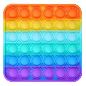 Push Pop Fidget Bubble Kids Toy Stress Relief Sensory Autism Rainbow - Square